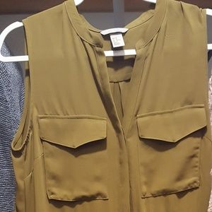 H & M Olive/ Khaki Green safari dress sz 10